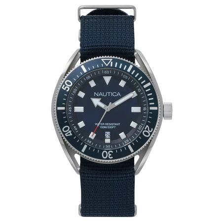 PRF Date Box Set Blue Nylon Strap Blue Dial Men's Watch NAPPRF009 (Nautica Watch Set)