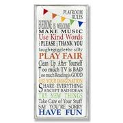 Playroom Rules Rainbow 17x7 Wall Plaque
