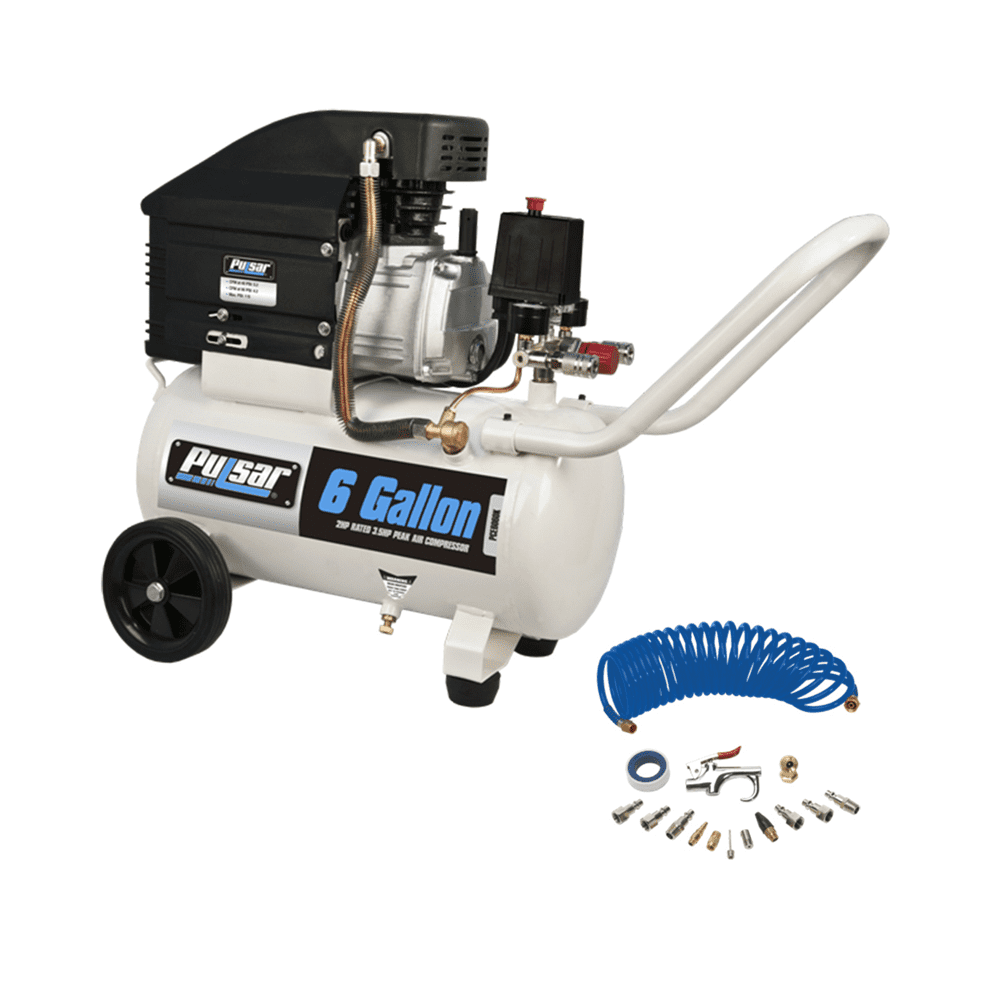 6 Gallon Horizontal Air Compressor by Pulsar