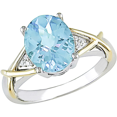 2-3/4 Carat T.G.W. Blue Topaz and Diamond Accent Ring in 10kt Yellow Gold and Sterling Silver