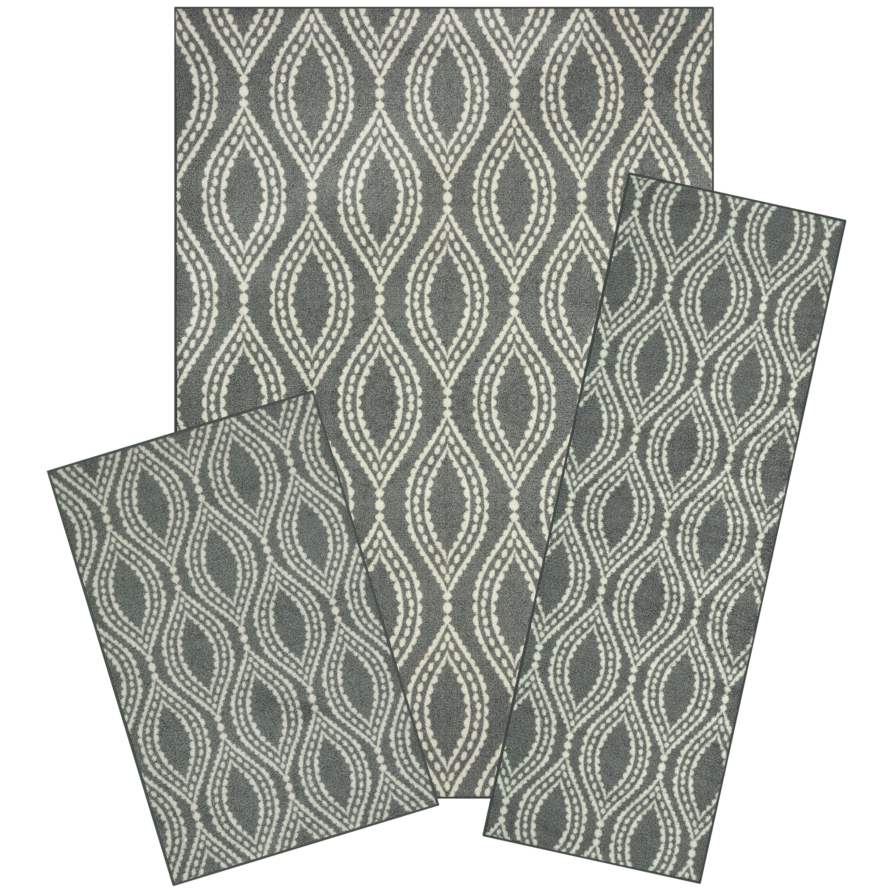 Mainstays Easton Dotted Ogee 3-Piece Area Rug Set, Multiple Colors