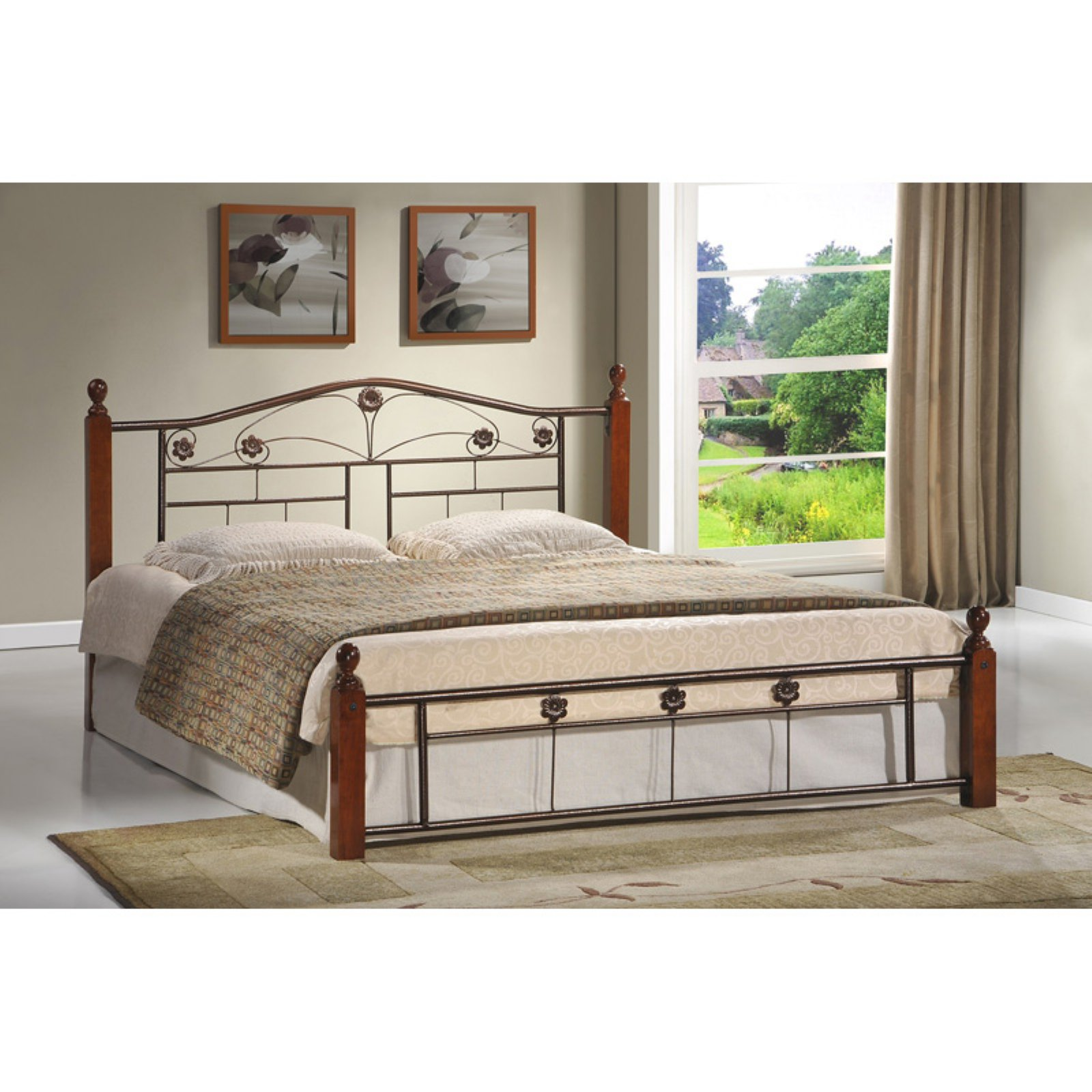 Hodedah Imports Wooden Poster Bed with Metal Frame
