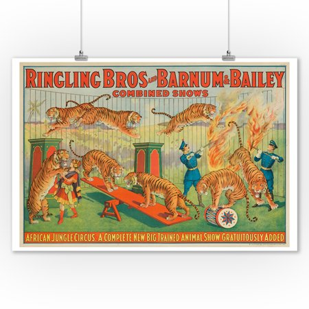 Ringling Bros and Barnum & Bailey - African Jungle Circus Vintage Poster USA c. 1922 (9x12 Art Print, Wall Decor Travel Poster)