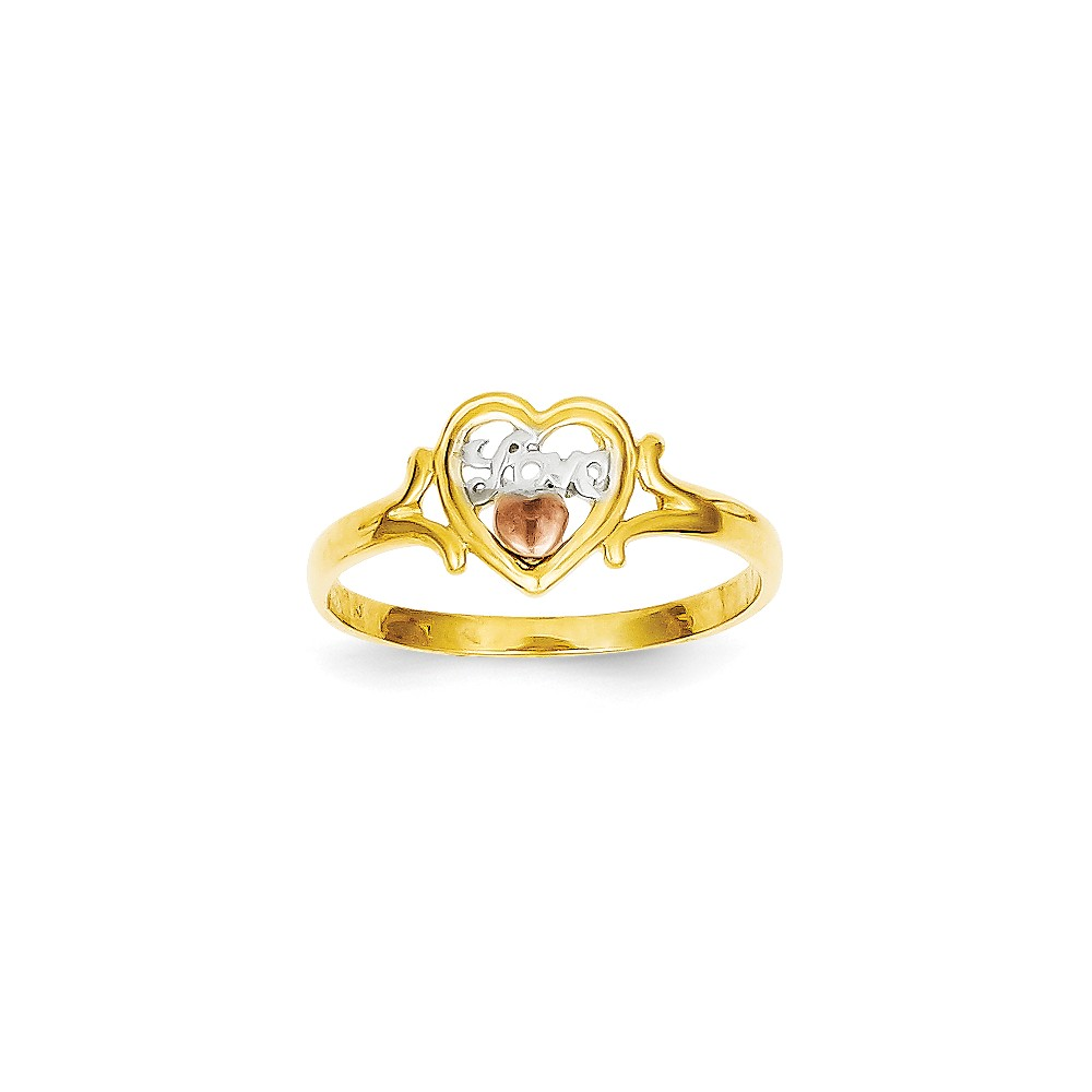 14k Yellow & Rose Gold w/ Rhodium Love Heart Ring