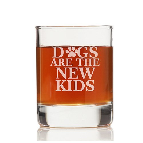 Chloe and Madison Dogs Are the New Kids 10.5 oz. Rock Glass (Set of 4)