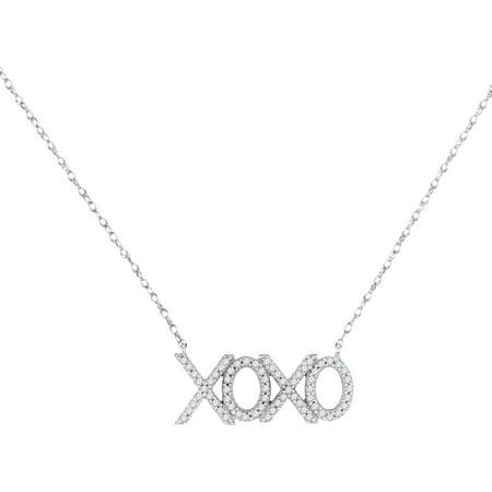 - 10kt White Gold Womens Round Diamond XOXO Hugs Kisses Letter Pendant Necklace 1/5 Cttw