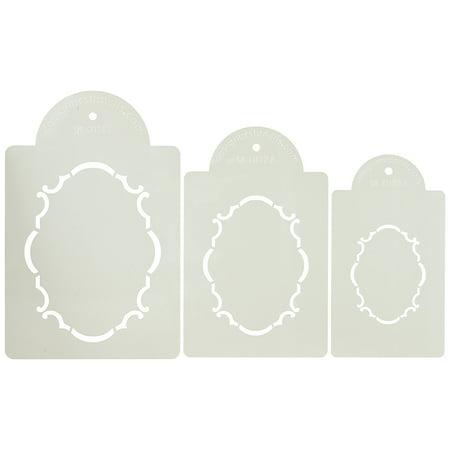 Designer Stencils C072 Monogram Oval Cake and Cookie Stencil Set of Three, Beige/semi-transparent
