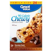 Great Value Chocolate Chunk, 90 Calorie Chewy Granola Bars, 0.84 oz, 24 ct