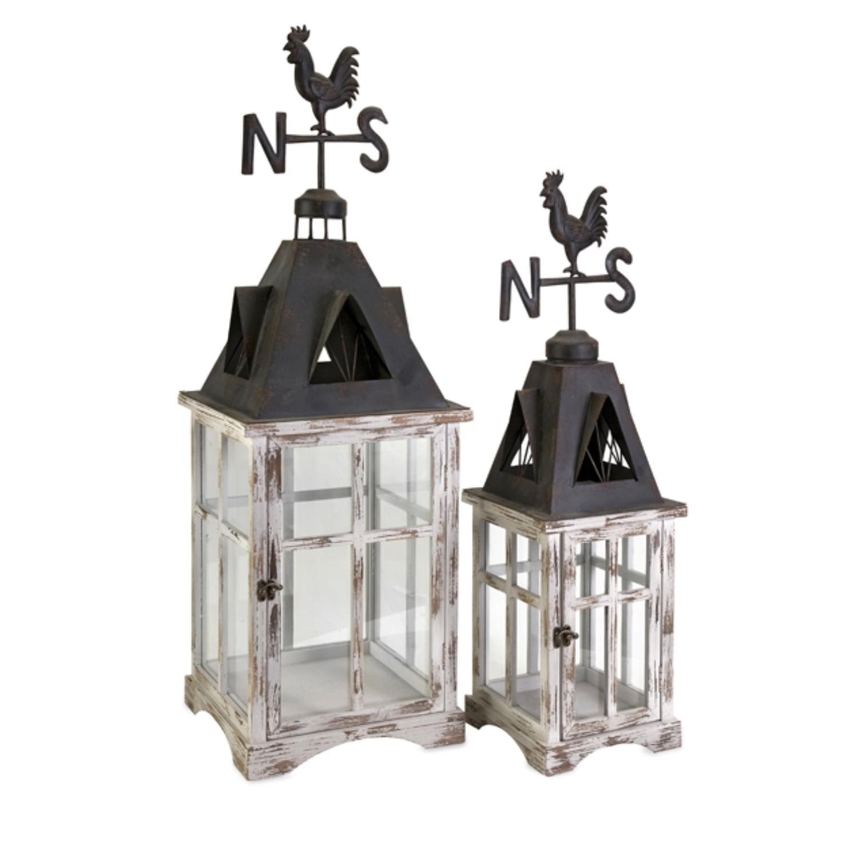 Set of 2 Distressed Country Rustic Weather Vane Cupola Pillar Candle Lanterns