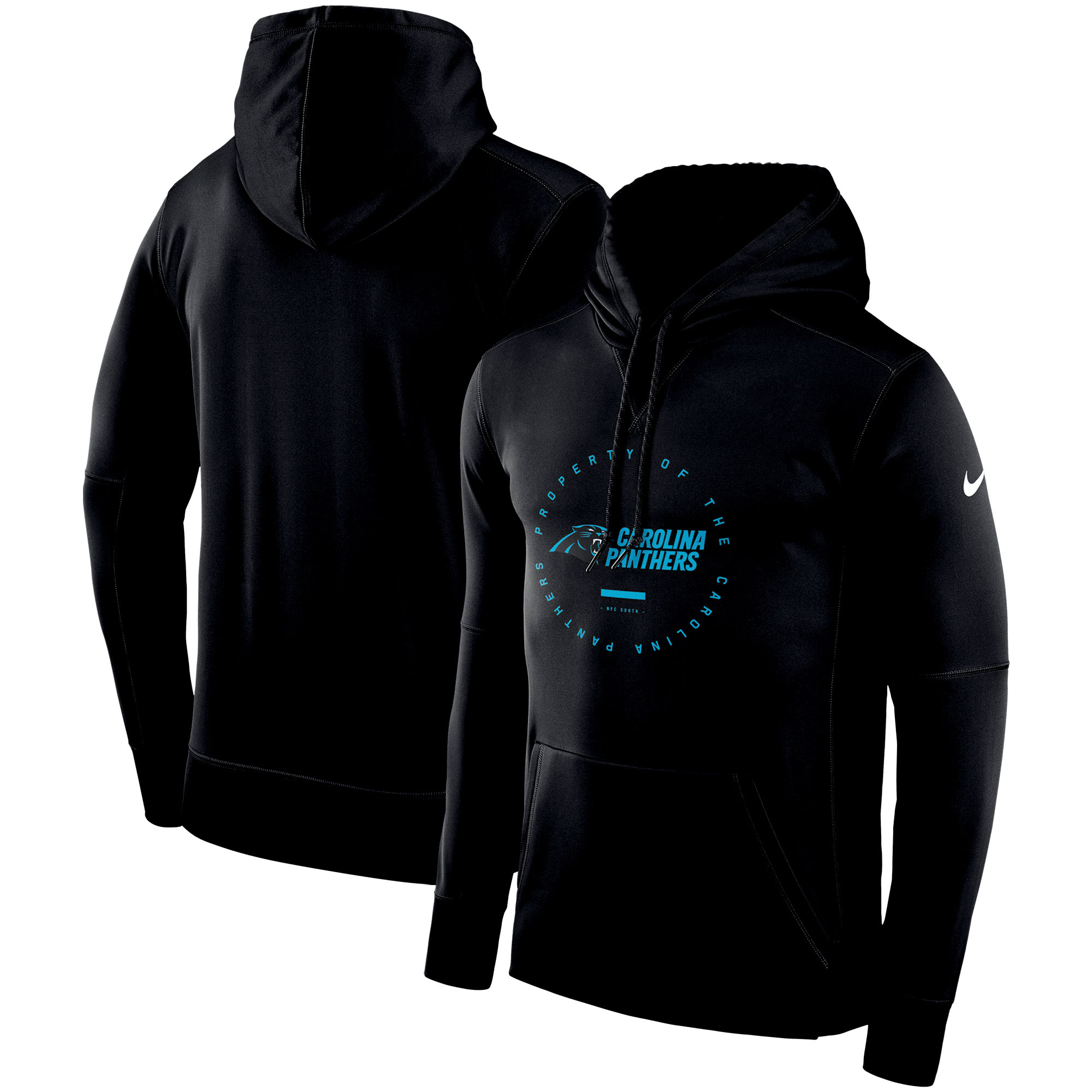 Carolina Panthers Nike Sideline Property Of Wordmark Logo Performance Pullover Hoodie - Black
