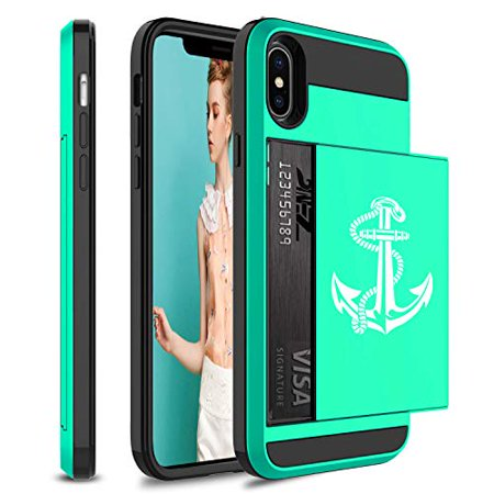 Wallet Credit Card ID Holder Shockproof Protective Hard Case Cover for Apple iPhone Anchor with Rope (Seafoam-Green, for Apple iPhone XR) (Iphone Anchor Case)