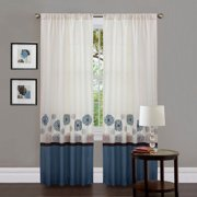 Tender Blossom Blue Window Curtains, Set of 2