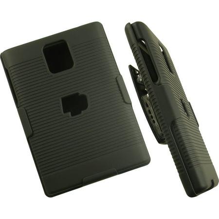 finest selection 92991 d95b7 BlackBerry Passport Case with Clip, Nakedcellphone Black Ribbed Rubberized  Hard Cover + Belt Hip Holster Holder Combo for BlackBerry Passport Phone ...