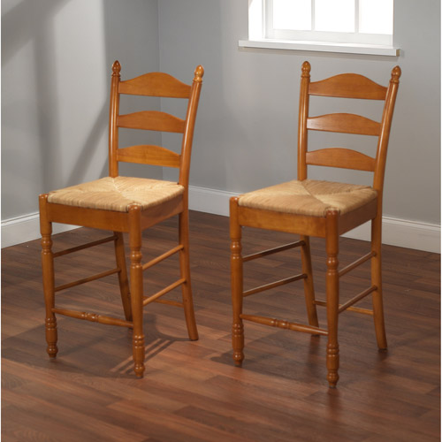 Ladder Back Rush Seat Counter Stools 24 Quot Set Of 2