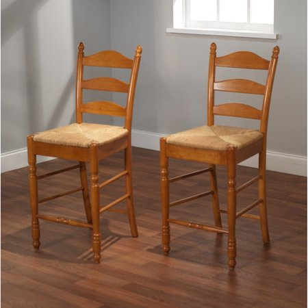 Ladder Back Rush Seat Counter Stools 24 Set Of 2 Multiple Colors