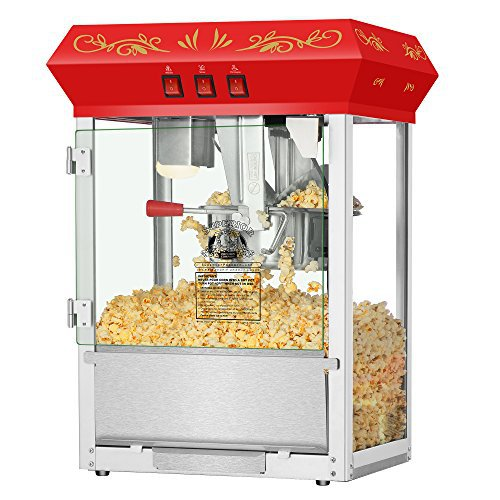 Superior Popcorn Red Movie Night Popcorn Popper Machine Cart, 8 Ounce