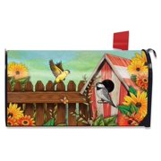 American Birdhouse Spring Magnetic Mailbox Cover Floral Birds Standard