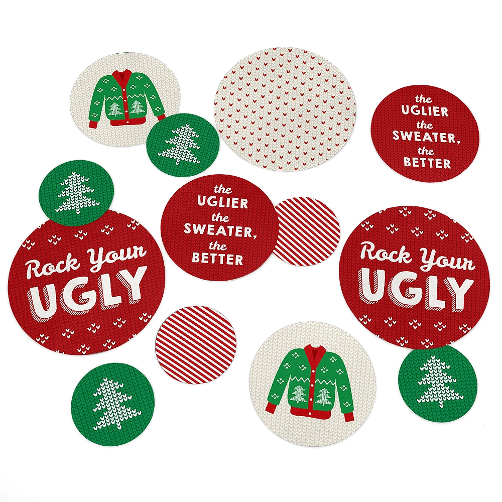 Ugly Sweater - Holiday & Christmas Party Table Confetti - 27 Count