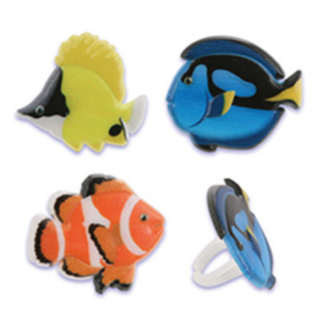 Aquatic Tropical  Sea Cupcake Rings Party of 24 Cupcake Decoration Kit - Sea Decoration Ideas