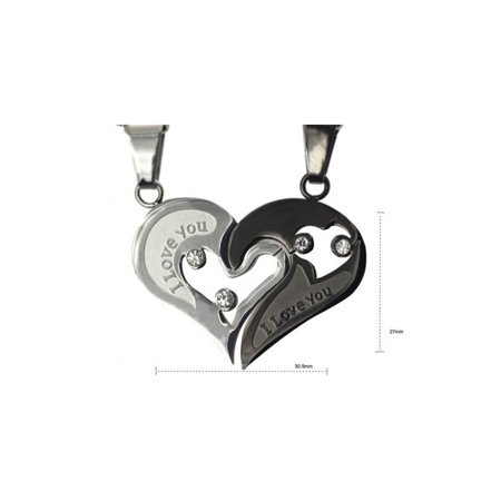 His and Hers Stainless Steel I Love You Heart Men Women Couple Pendant Necklace - - Steel Couples Necklaces