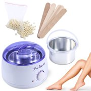 Walfront 500cc Wax Heater for Hair Removal Hard Wax Beans Warmer with Rapid Melting Pot 100g Beads for Hirsute and Depilatory 5 Sticks