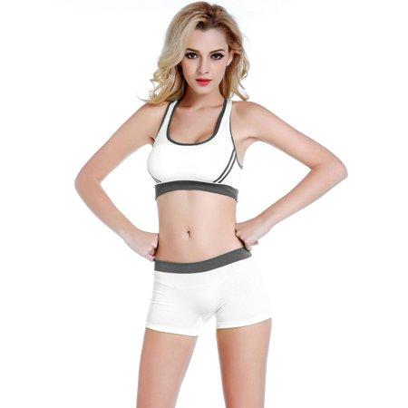 5db89e337d8 EFINNY Womens Sports Stretchy Padded Bra + Pants Shorts Set