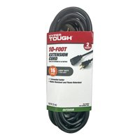 Hyper Tough 10 Foot 16/3 Extension Cord Black For Outdoor use