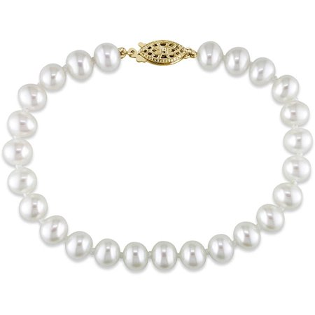 Miabella 6-7mm White Cultured Freshwater Pearl 14kt Yellow Gold Strand Bracelet, 7.25