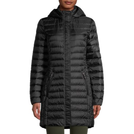 360 Air Women's Packable Long Down Jacket With Detachable Hood