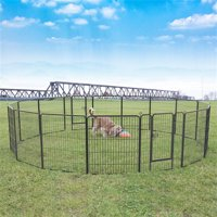 Topeakmart 16 Panel Pet Playpen Dog Playpen Play Yard Metal Exercise Barrier Pet Pen with Door Black