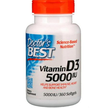 Doctor's Best, Vitamin D3, 5,000 IU, 360 Softgels(Pack of