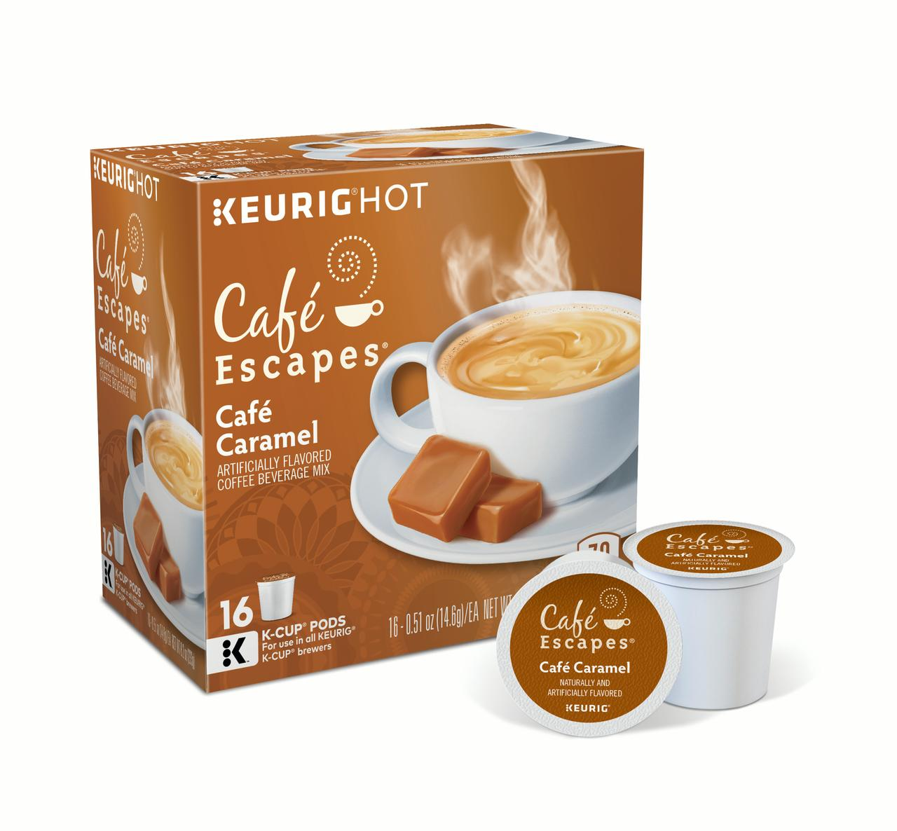 Café Escapes Café Caramel Keurig Single-Serve K-Cup Pods, 16 Count