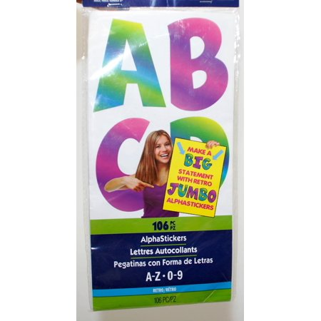 ArtSkills Jumbo Alpha Stickers Retro - 106 pc Colorful Stickers - NEW