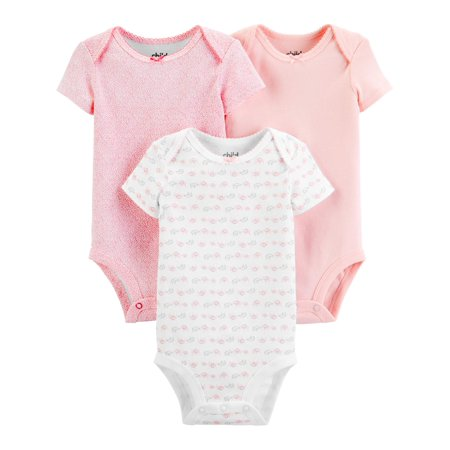 Child Of Mine By Carter's Short Sleeve Bodysuits, 3pk (Baby Girls) Carters Girls Sleeper