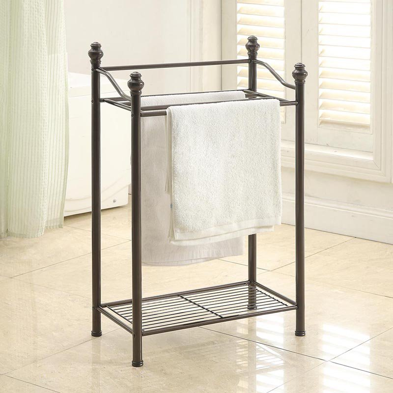 neu home standing towel rack with shelf. Black Bedroom Furniture Sets. Home Design Ideas