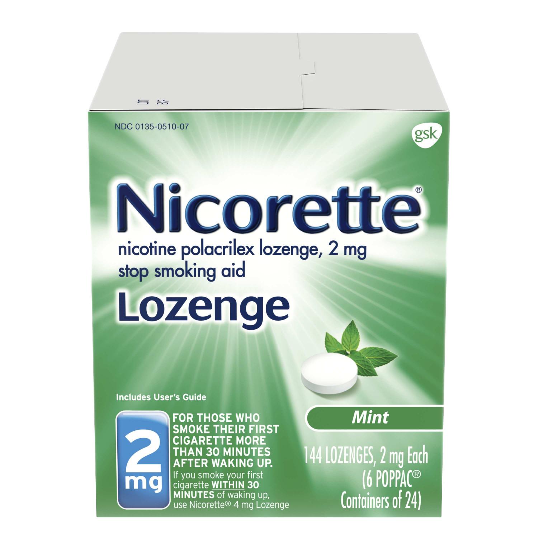 Nicorette Nicotine Lozenge to Stop Smoking, 2mg, Mint, 144 Count