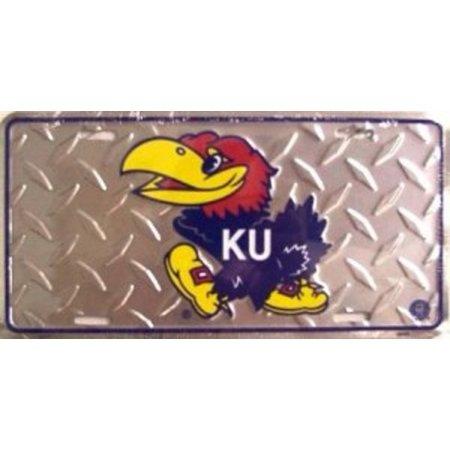 Kansas Jayhawks Diamond Metal License Plate