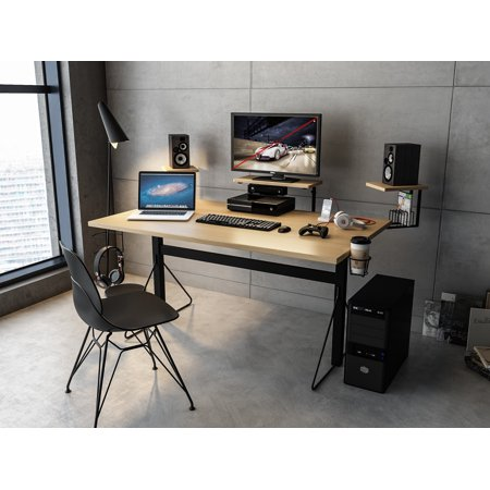Carnegie Computer Gaming Desk Xl Black Natural Walmart Com