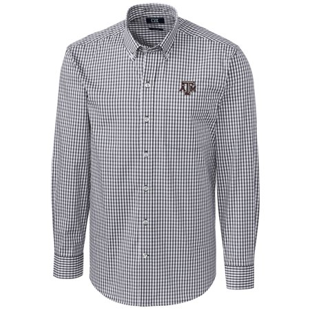 Texas A&M Aggies Cutter & Buck Big & Tall Stretch Gingham Long Sleeve Button Down Shirt - Charcoal