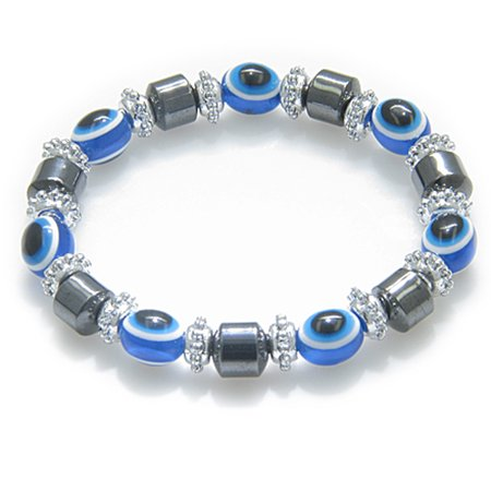 Evil Eye And Protection Magnetic Blue Eyes Simulated Hemalyke Hematite Bracelet