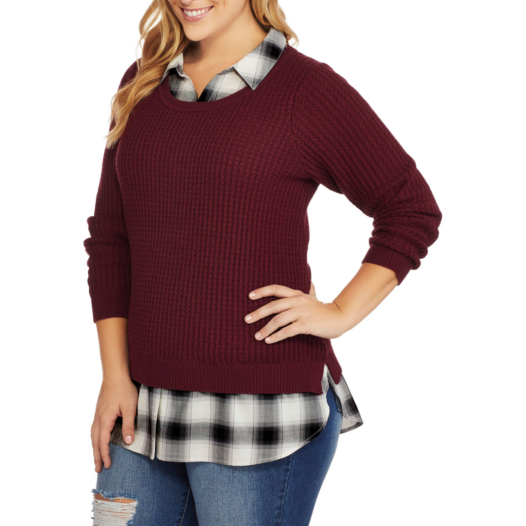 Faded Glory Women's Plus Twofer Sweater with Built-In Collared Shirt