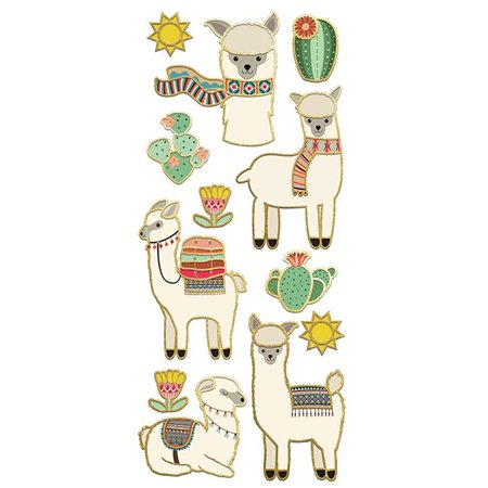 Paper House STFE-0021 Llamas Faux - Enamel Stickers (Cool Pig)