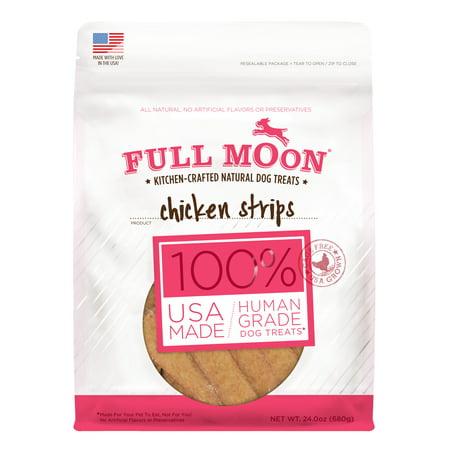 Full Moon All Natural Human Grade Dog Treats, Chicken Strips, 24