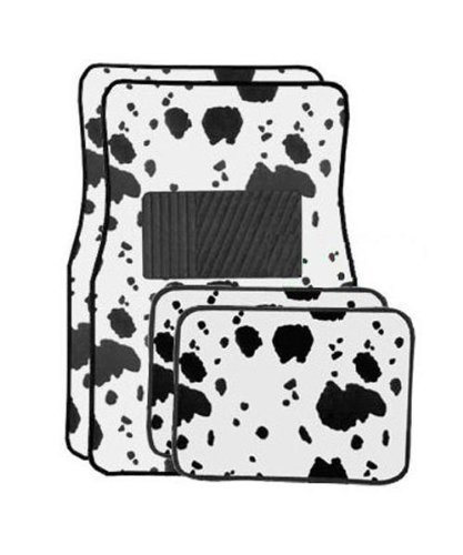 Front And Rear Cow Print Carpet 4 Piece Car Truck Suv Floor Mats