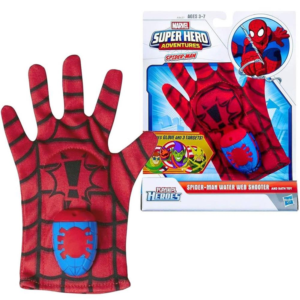 Spider-Man Water Web Shooter Bath Toy Glove Marvel Super Hero Adventures Multi-Color Playskool Heroes A8627