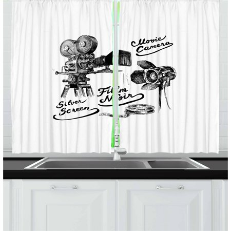 Movie Theater Curtains 2 Panels Set, Cinematography Themed Artwork with Old Camera and Equipment Silver Screen, Window Drapes for Living Room Bedroom, 55W X 39L Inches, Black White, by Ambesonne - Halloween Themed Movie Theater