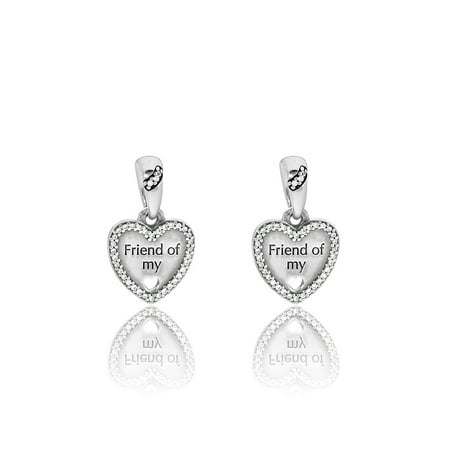 Daughter Split Heart Charm - Authentic Heart Split Charm, Friend of my Heart, CZ 792147CZ