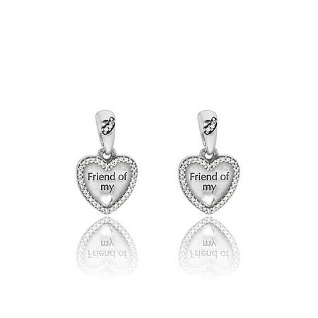 Authentic Heart Split Charm, Friend of my Heart, CZ