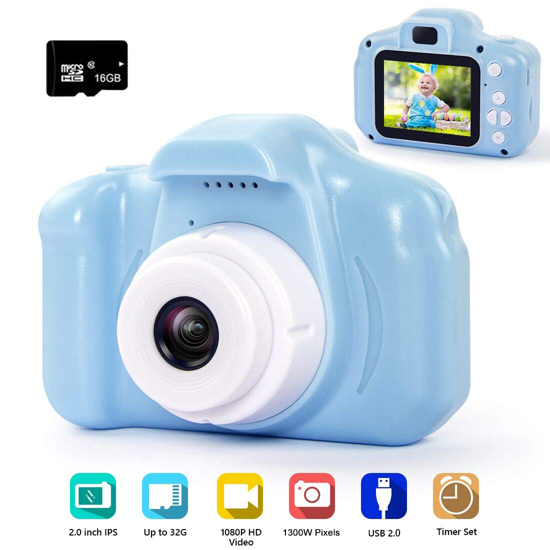Digital Camera 20MP 1080P FHD Video Recorder 2.0 Inches IPS Screen Children Cartoon Toy Camcorder with 24 Funny Filters for Kids Gifts for 3-10 Year Old Boys Girls with 32GB SD Card Kids Camera