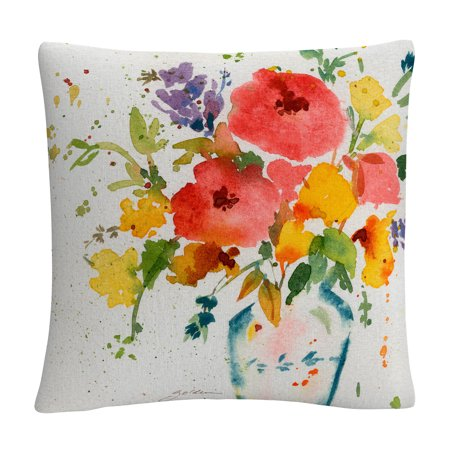 Sheila Golden 'White Vase With Bright Flowers' 16 X 16 Decorative Throw Pillow ()